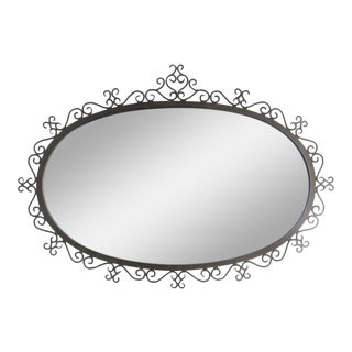 Deco Style Black Metal Oval Mirror