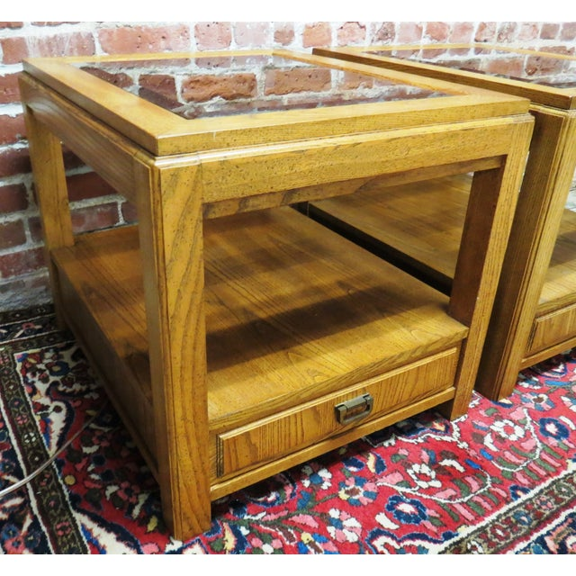 Image of Vintage Wooden Glass Top Side Tables - Pair