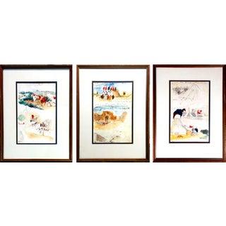 """Eugene Delacroix """"Album d'Afrique du Nord et d'Espagne"""" Prints - S/3"""