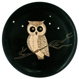 Couroc Black Lacquer Owl Inlay Tray