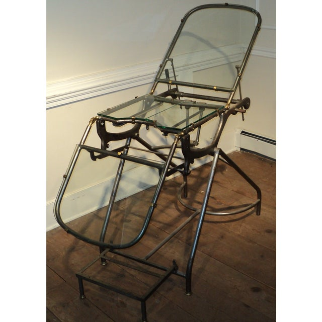 Antique Industrial Metal Glass Medical Chair Table - Image 4 of 11