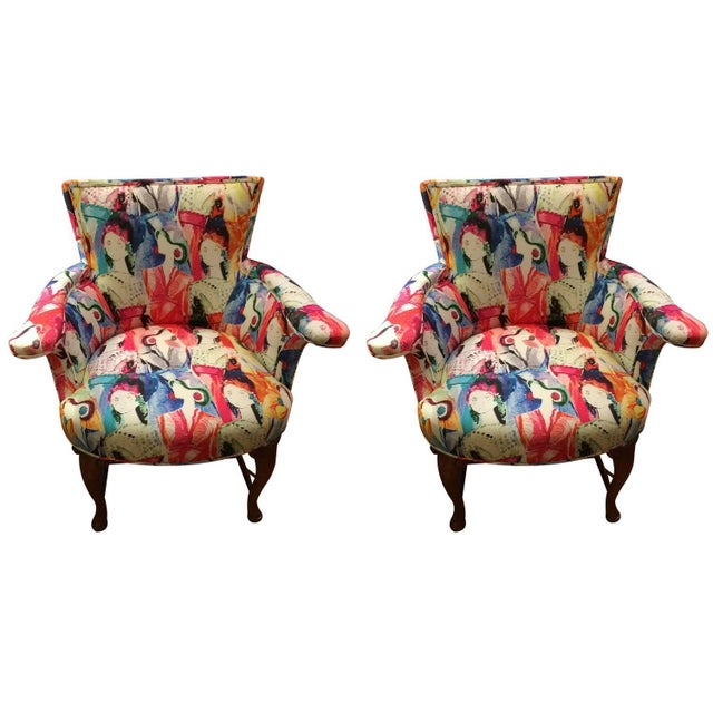 Oly Silkscreened Armchairs - Pair - Image 1 of 5