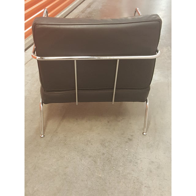Image of DWR Black Italian Club Chair & Ottoman