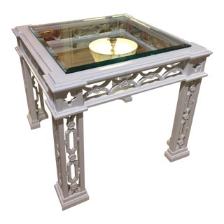 Hollywood Regency White Lacquer Table