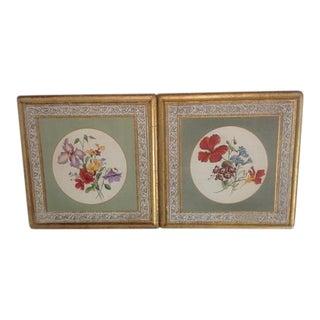 Vintage Italian Florentine Floral Placques - A Pair