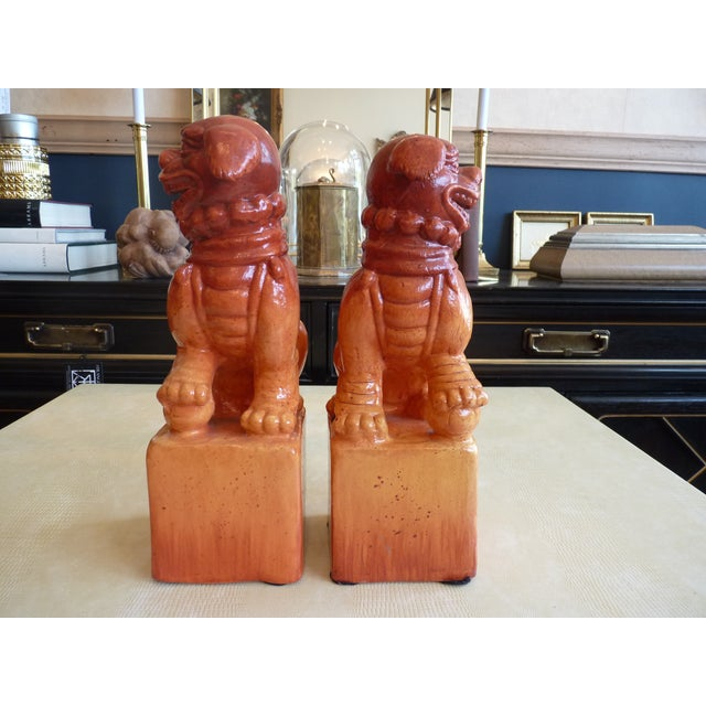 Orange Glaze Foo Dogs - A Pair - Image 6 of 7