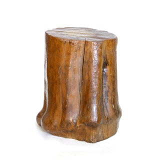 Polished Wood Stump Side Table