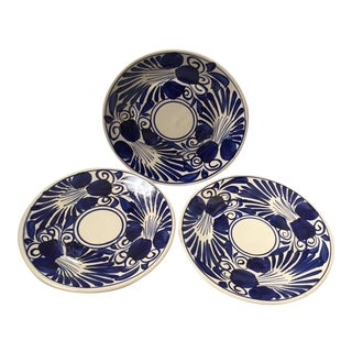 Mexican Talavera Iris Motif Plates- Set of 3
