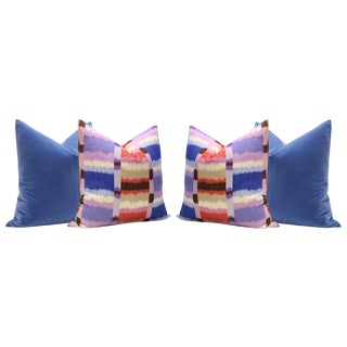 Calypso Madras Linen Print and Calypso Blue Velvet Panel Pillows - Set of 4