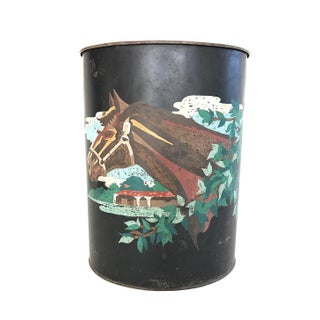 Vintage Toleware Horse Head Waste Basket