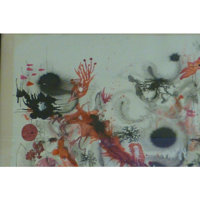 Mid-Century Abstract Watercolor Painting - Image 8 of 8