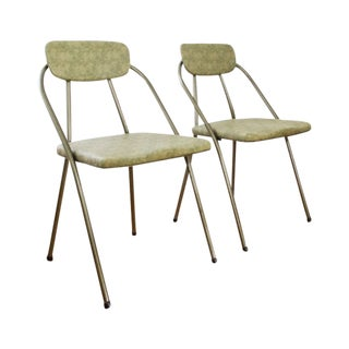 Retro Metal Folding Chairs - A Pair