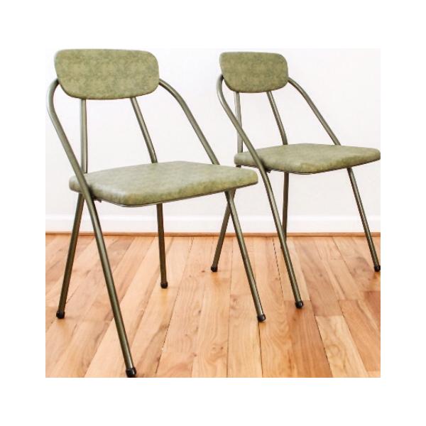 Retro Metal Folding Chairs   A Pair