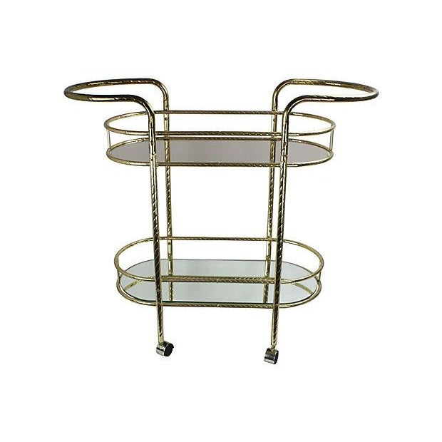 Art Deco Style 2 Tier Brass Bar Cart Chairish