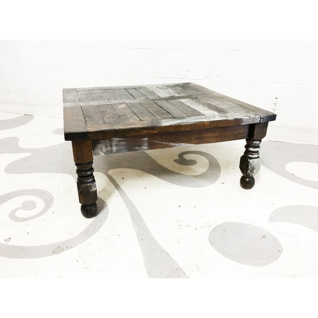 Vintage Mexican Hand Painted Pine Coffee Table - Image 5 of 7