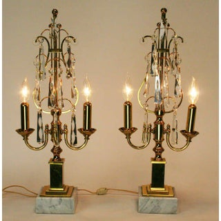 Mid-Century Brass and Crystal Girandoles - A Pair