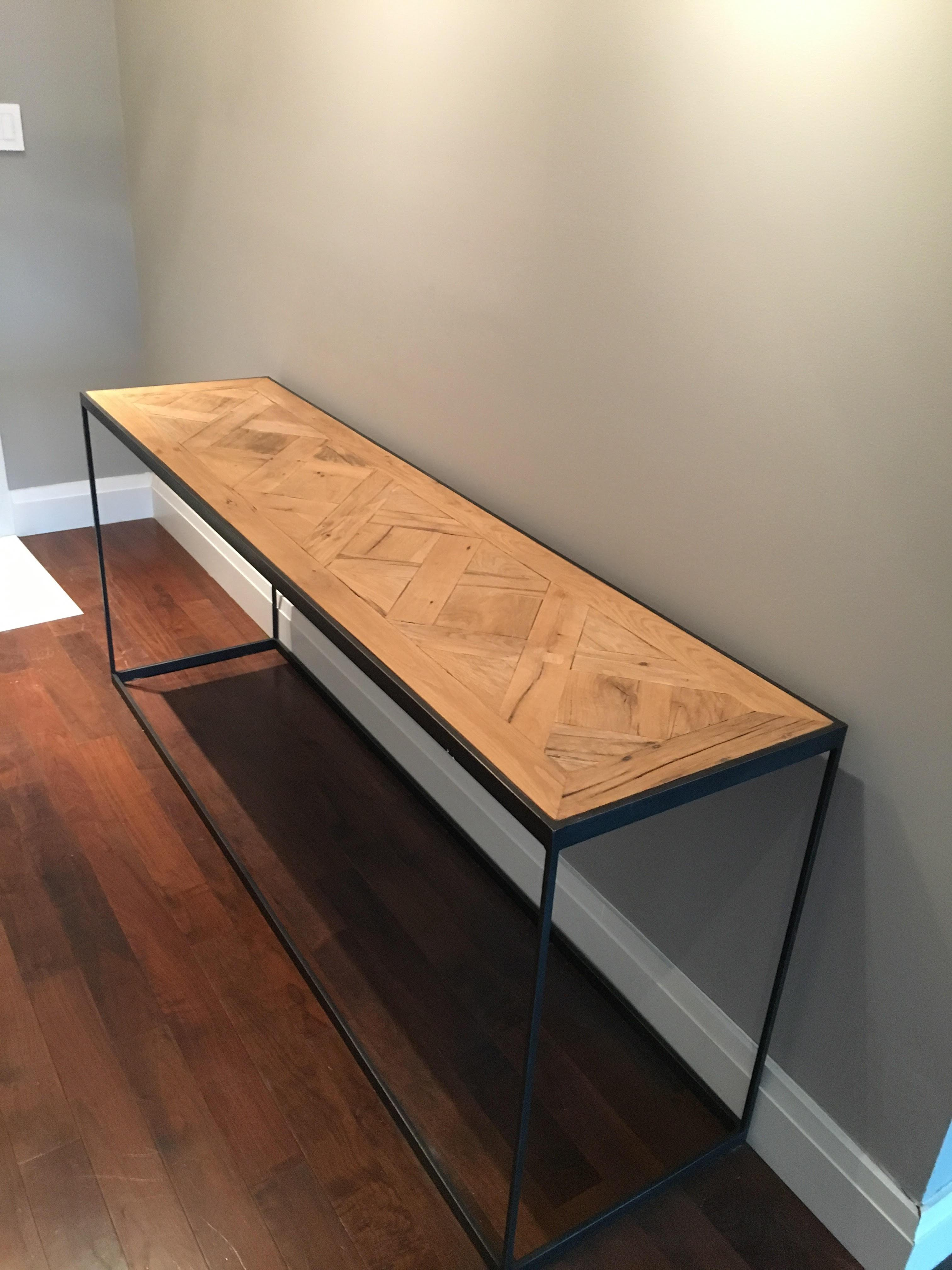 Restoration Hardware Reclaimed Russian Oak Parquet Console Table   Image 5  Of 5