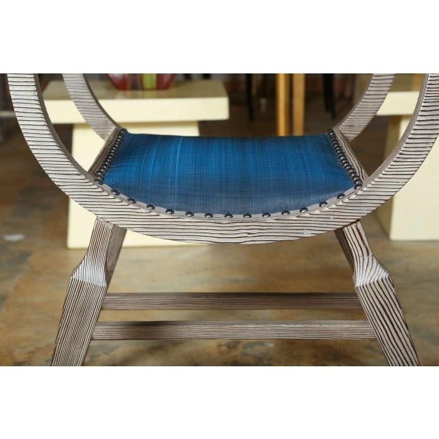 Image of Paul Marra Distressed Fir Bench in Blue Horsehair
