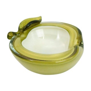 Barbini Green & Gold Glass Murano Apple Bowl