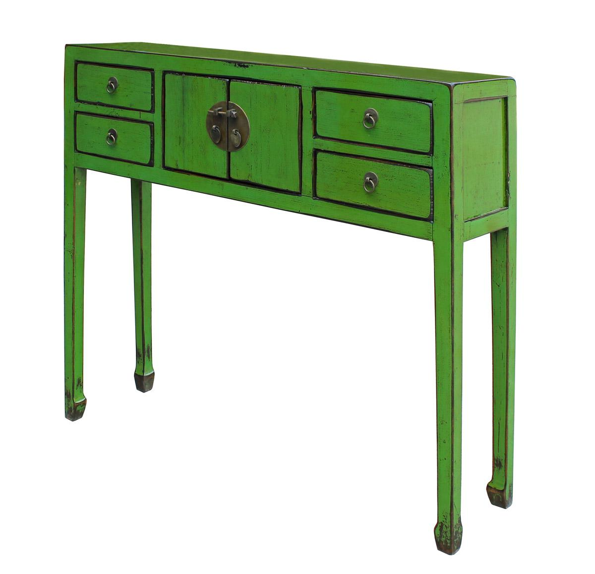 Chinese Distressed Green Console Table   Image 3 Of 7