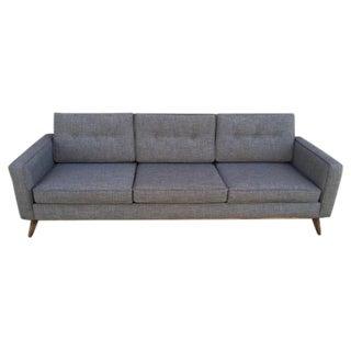 Mid Century Moder Custom Tufted Gray Tweed Sofa