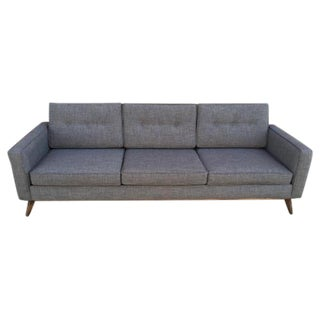 Mid Century Moder Custom Tufted Gray Tweed Sofa