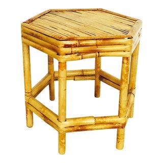 Vintage Hexagonal Bamboo Side Table