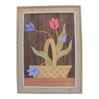 Theodore Degroot Inlaid & Woven Wood Floral Arrangement