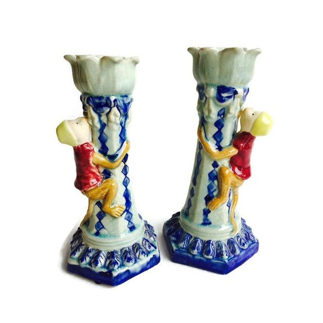 Vintage Ceramic Monkey Votive Candlesticks- A Pair - Image 6 of 6