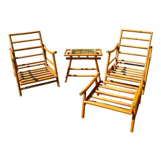 Vintage Chinoiserie Bamboo Rattan Patio Furniture - Set of 4
