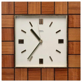 Mid-Century Diehl Junghans Resonic Teak Wood Frame Clock