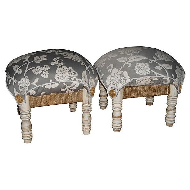 Pillow-Top Ottomans in Gray/White - A Pair - Image 1 of 4