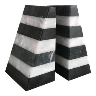 Color Blocked Marble Bookends