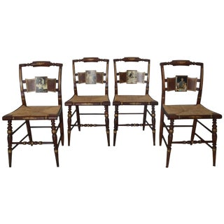 Hitchcock / Norman Rockwell 'Four Freedoms' Dining Chairs - S/4