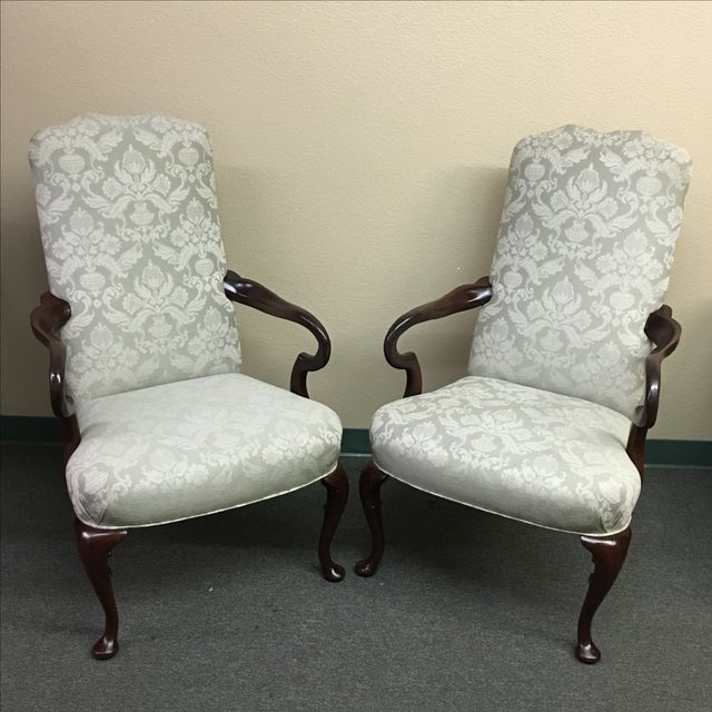 Damask Hickory Chairs - Pair - Image 3 of 9