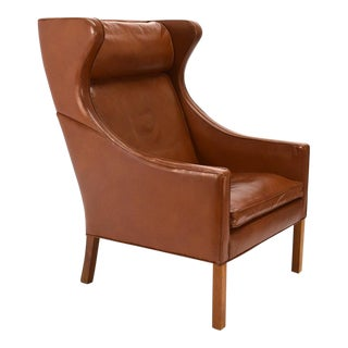 Børge Mogensen Leather Wingback Chair