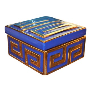 Lapis and Gold Greek Key Ceramic Trinket Box
