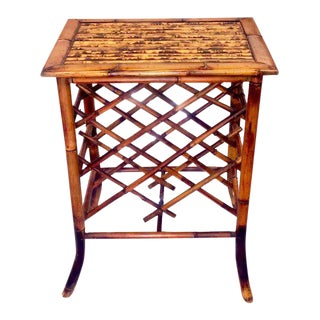 Scorched Bamboo Chinoiserie Side Table