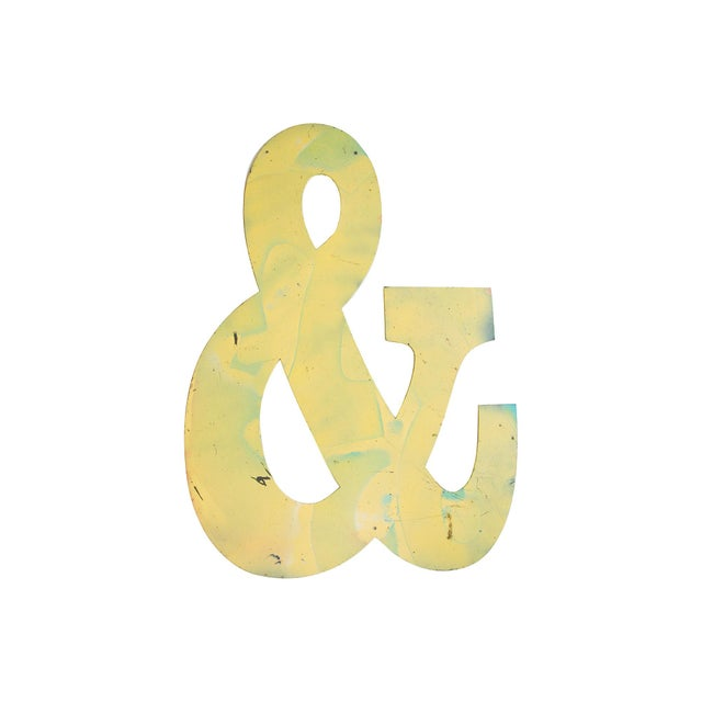Image of Large Yellow Salvaged Metal Marquee Ampersand