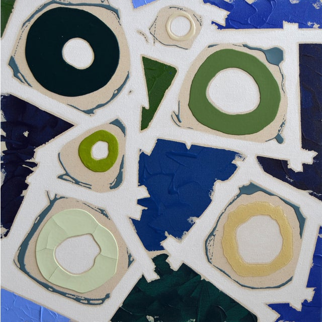 Blue & Green Abstract Painting, Brushless #6 - Image 1 of 4