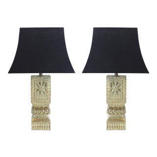 Indian Sliver Post Lamps - A Pair