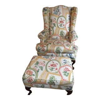 Ethan Allen Queen Anne Wing Chair & Ottoman