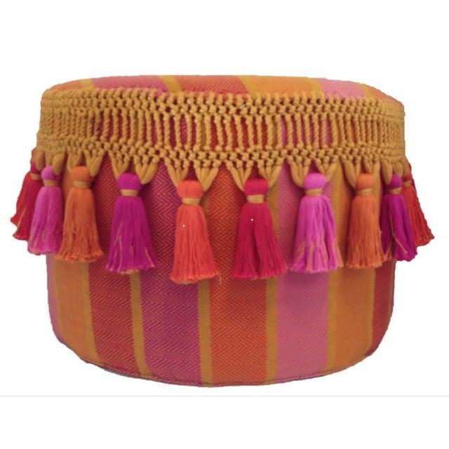 Boho Chic Striped Tassel Pouf - Image 1 of 3