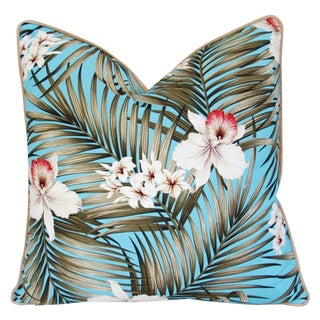 Custom Large Tropical Palm & Orchid Pillow