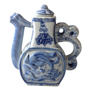 Blue and White Phoenix and Dragon Teapot
