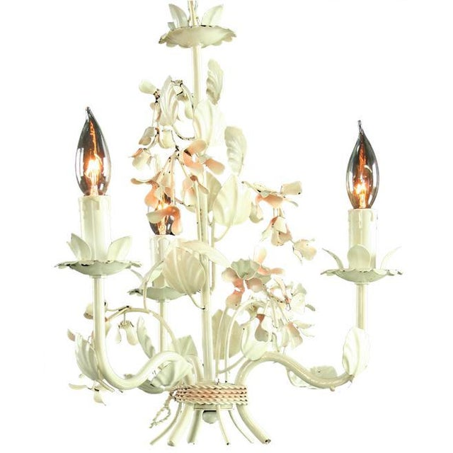 Image of Vintage French 3-Arm Metal Floral Chandelier