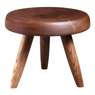 Charlotte Perriand Low Ash Stool with Beautiful Patina, France, 1950s