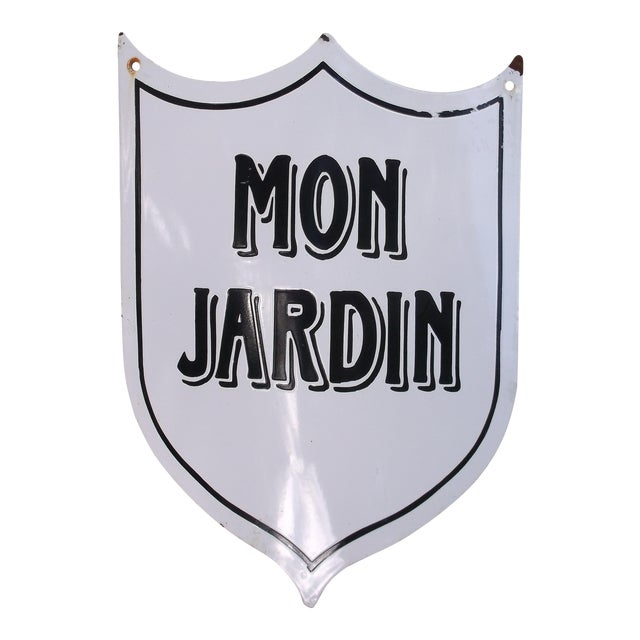 "Vintage French ""Mon Jardin"" Garden Sign - Image 1 of 5"