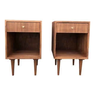 Mid-Century Modern Walnut Nighstands - a Pair