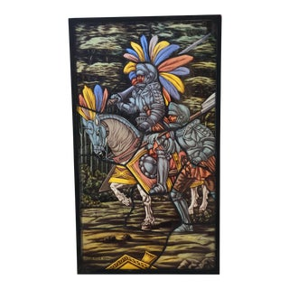 Mid 20th Century Jose De La Silva Stained Glass Knight Panel
